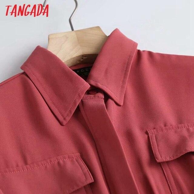 Tangada Fashion Women Elegant Solid Shirt Dress High Quality Long Sleeve Ladies Midi Dress Vestidos 4C58 3