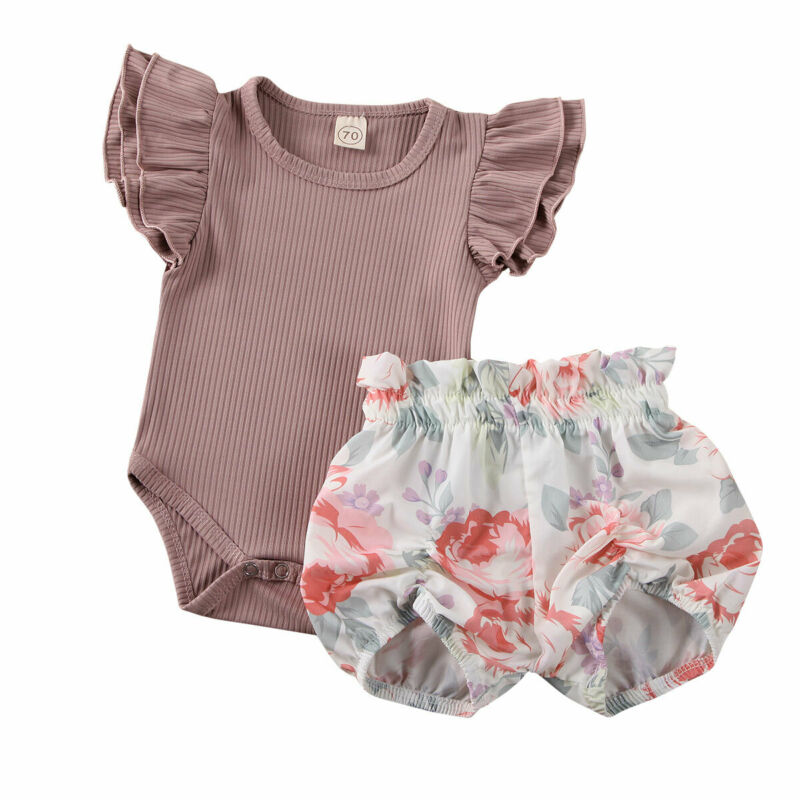 New Born Baby Girl Two Pieces Summer Set Ruffle Short Sleeve Top Floral Shorts Infant Newborn Girl Clothes