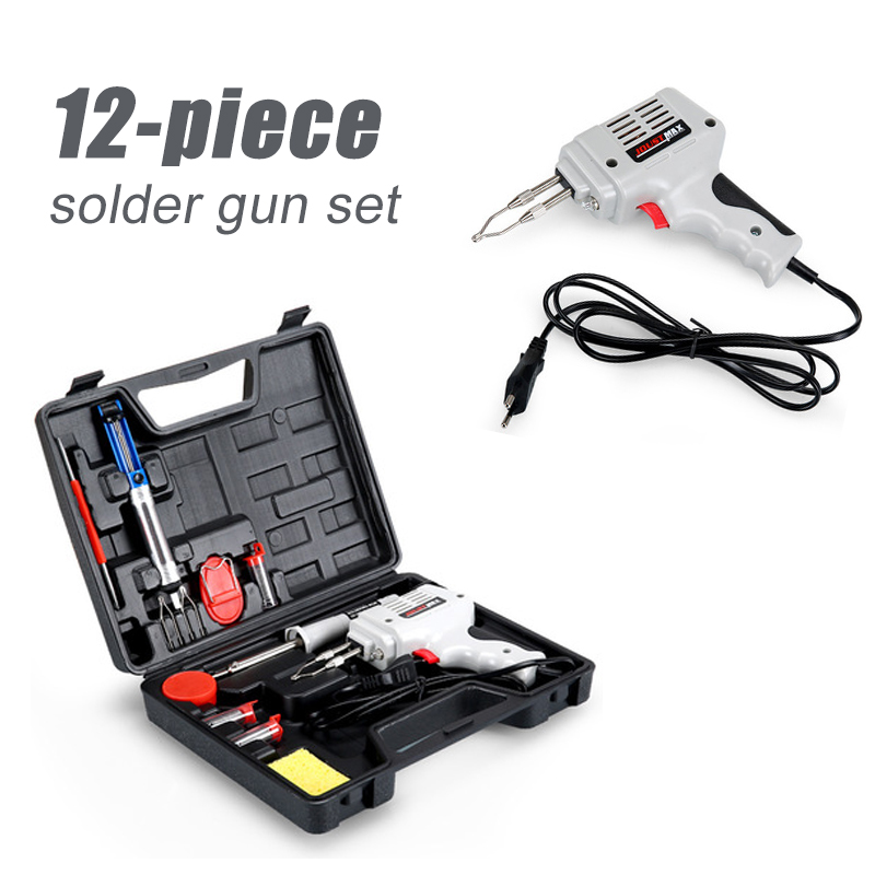 12 Pieces 100W Soldering Gun Kit Heat-resistant ABS Hand Welding Tool Rework Station Tools Set Electrical Soldering Iron