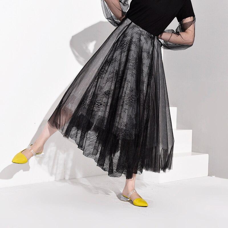 [EAM] черная многослойная сетчатая юбка с высокой талией, женская модная юбка на половину тела, Новинка весна-осень JT1360