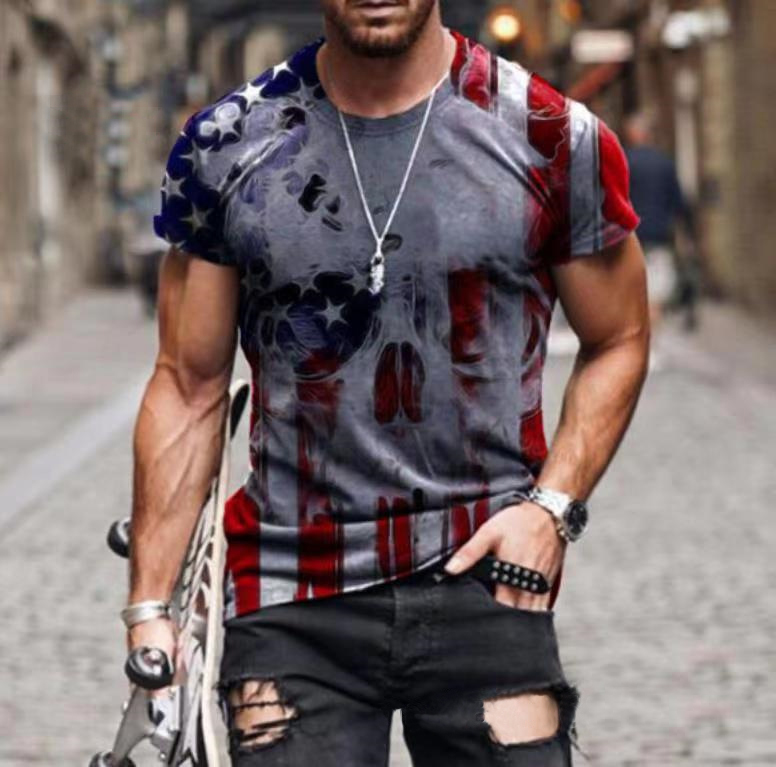 2021 new personality Stars and Stripes print T-shirt Popular street all-match blouse Men's Hip Hop Funny shirts Oversized tops