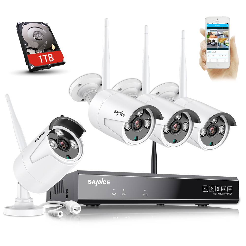 SANNCE 8CH Trådlös IP-kamera Wi-fi NVR Kit 1080P HD Utomhus IR Night Vision Security Network WIFI CCTV System P2P Plug and Play