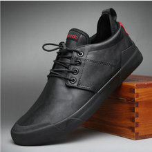 High quality Leather Fashion All black  Sneakers Men Zapatos Hombre Men Casual Flats Shoes  A52-41