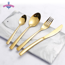 Cutlery-Set Stainless-Steel Gold Gift-Box Knives/fork Mirror 16pcs Polish