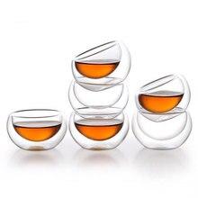 6 шт., анти-обжигающая стеклянная чашка с двойными стенками, 50 мл, прозрачная стеклянная двухслойная чашка, чайный набор, термостойкая изоляционная чайная чашка кунг-фу