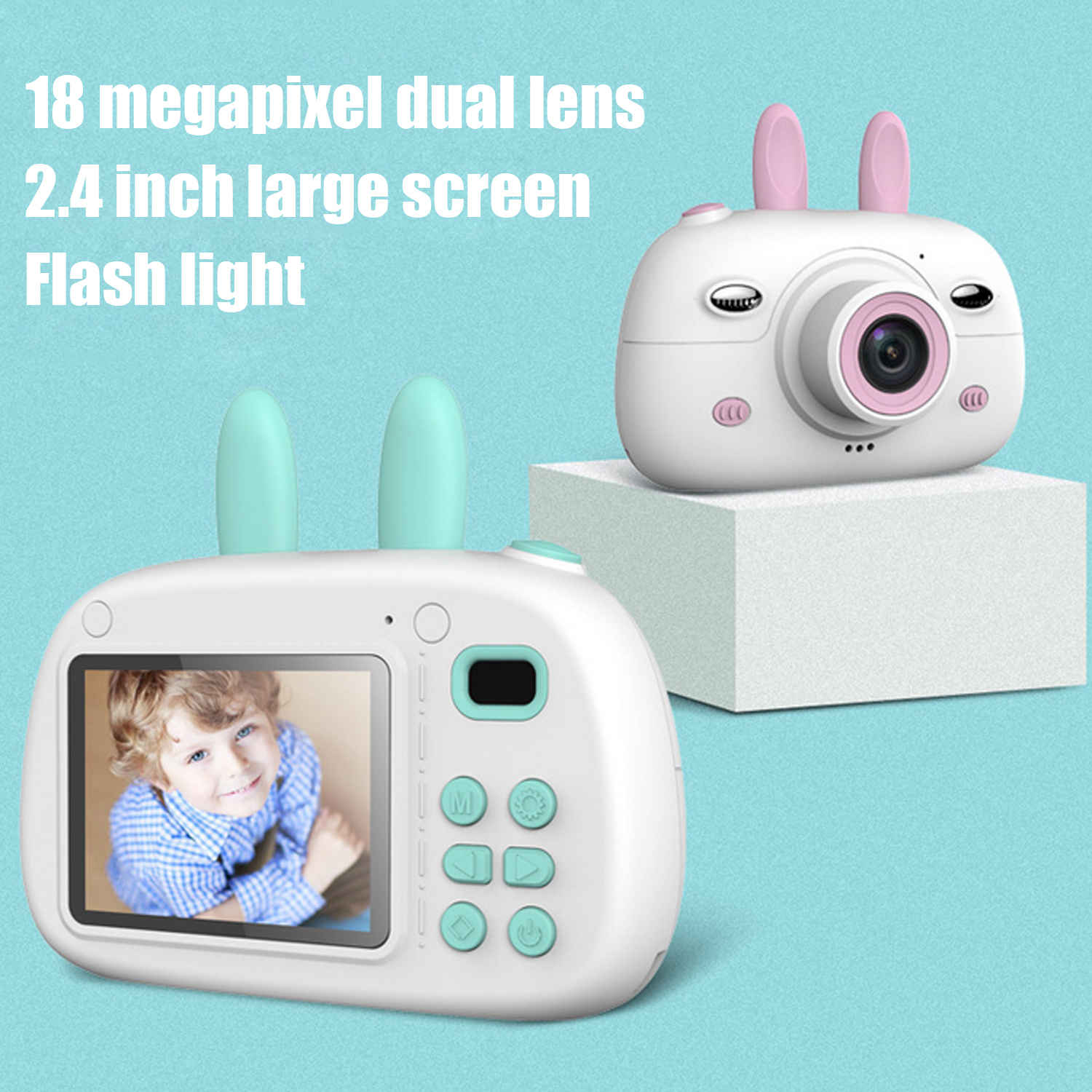 Cute Cartoon Rabbit 1800W HD Digital Camera Camcorder Photo Video Game Toy With 16G Memory Card For Kids Children Gift