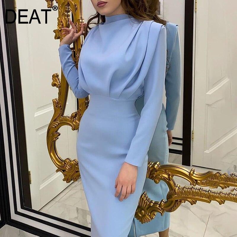 DEAT Dress Womens Solid Elegant Casual Full Sleeve Turtleneck Long Length A-line Slim 2021 New Autumn Autumn Fashion Tide XQ070 1