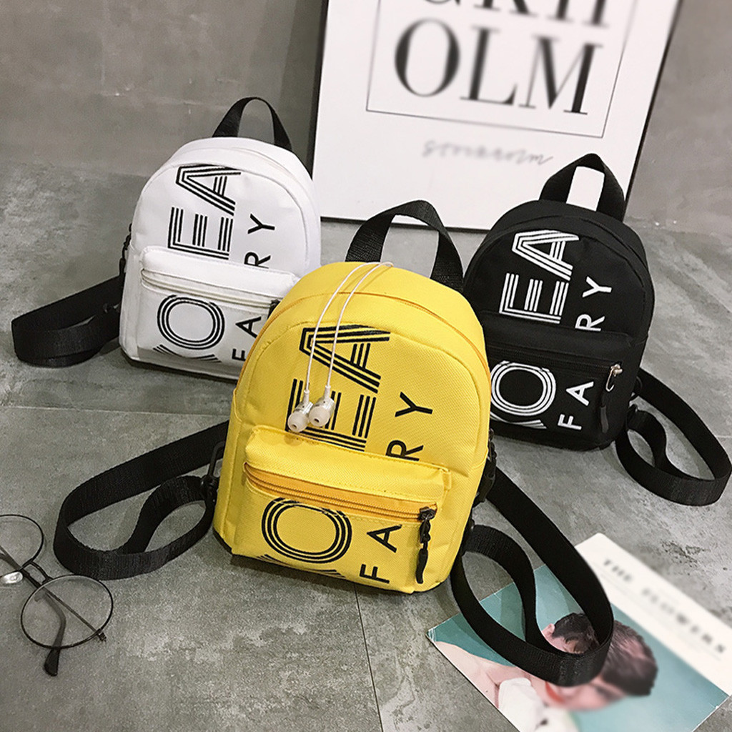 2019 Hot Sale Fashion Women's Mini Backpack Outdoor Simple Female Nylon Zipper Solid Color Letter Backpack Women's Travel Bag