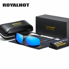 RoyalHot Men Women Polarized Sunglasses Rectangle Aloly Frame Sun Glasses Driving Shades Oculos masculino Male 90091