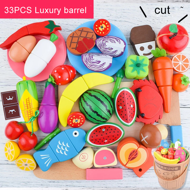 DIY Cute Wooden Cutting Fruit Vegetable Pretend Play Toy Set Kitchen Food Cook Cosplay Girls Children Kid Educational Toy Gifts