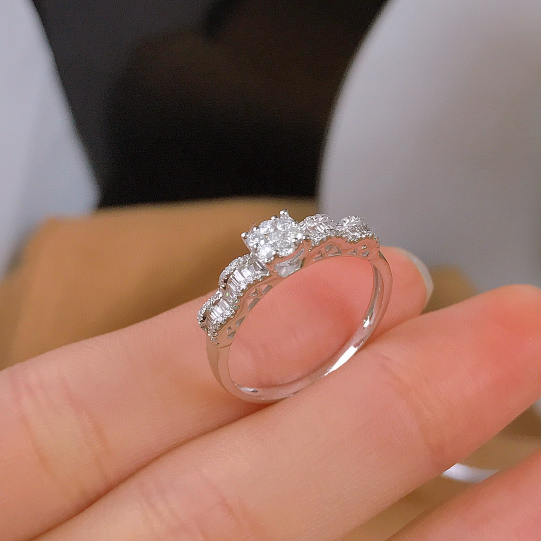 18K White Gold Solid Yellow Gold Jewelry(AU750)Women Diamond Rings Real Natural Diamond...