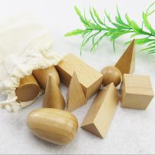 10Pc Wooden Geometric Shapes Montessori Puzzle Building Blocks Early Learning Educational Game Toy Teaching Kit Baby Toddler Toy