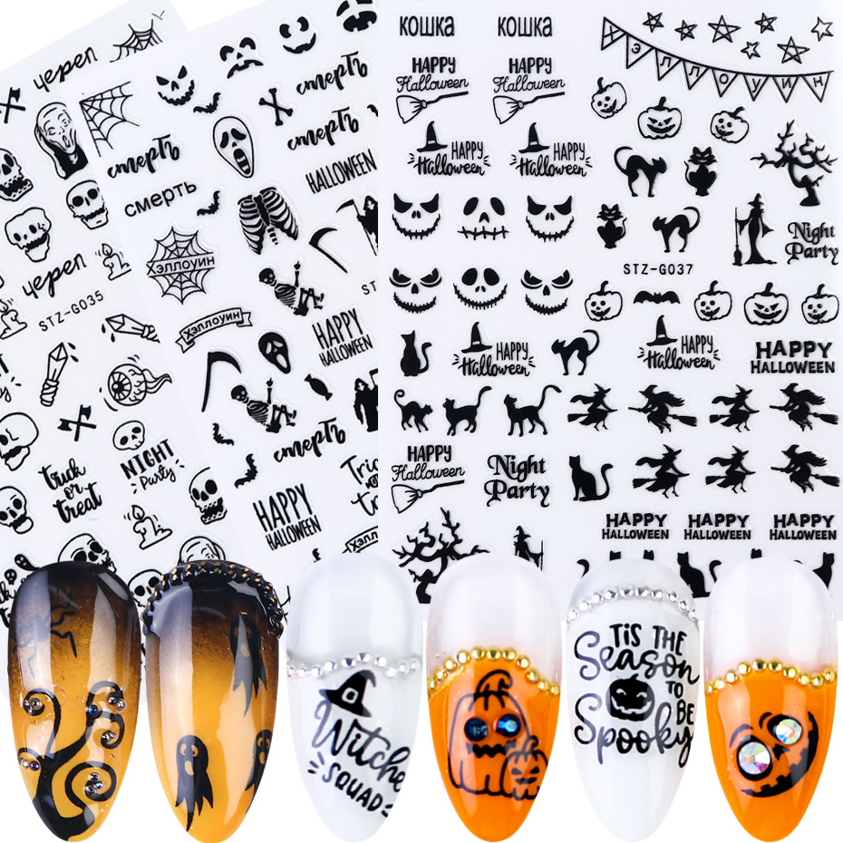 1pcs 3D Black Halloween Nail Sticker Russian Letters Pumpkin Bat Ghost Skull Horror Decals Manicure Decoration JISTZ G032 040 2-in Stickers & Decals from Beauty & Health