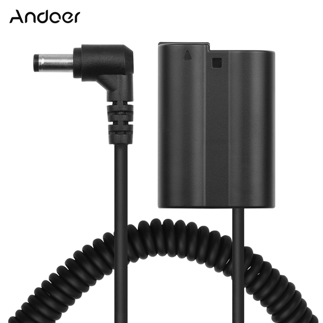 Andoer EN EL15 Dummy Battery Pack DC Coupler Spring Cable Battery Replacement for Nikon D500 D600 D610 D750 D800 D810 Cameras