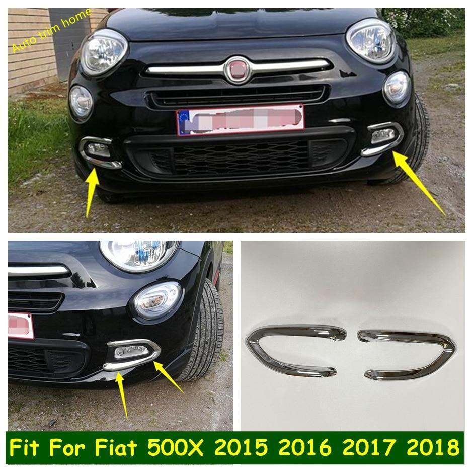 Передний бампер противотуманные фары лампы век брови полосы Накладка для Fiat 500X 2015 - 2018 авто аксессуары хром переоборудование экстерьера