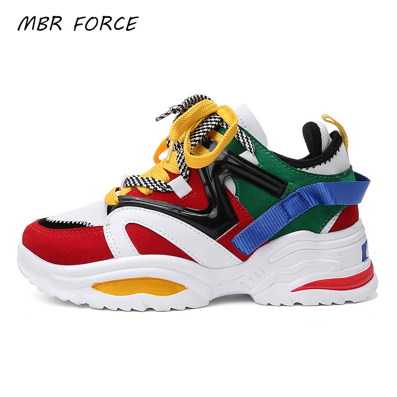 MBR FORCE 2020 women's chunky sneakers thick bottom tennis vulcanized shoes casual breathable fashion female sneakers title=