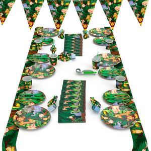 Vajilla de animales de la selva PATIMATE, plato desechable, servilleta, suministros para fiestas de jungla Tropical, decoración para fiesta de feliz cumpleaños para niños