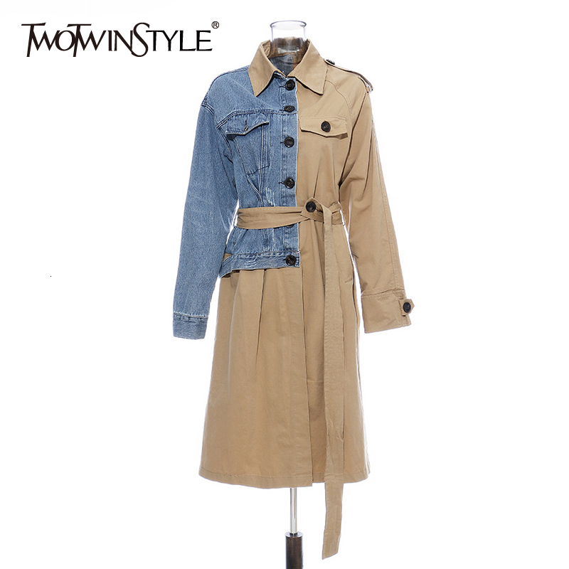 TWOTWINSTYLE Hit Color Patchwork Denim Women's Windbreaker Long Sleeve High Waist Lace Up Female Coats 2020 Autumn Fashion New