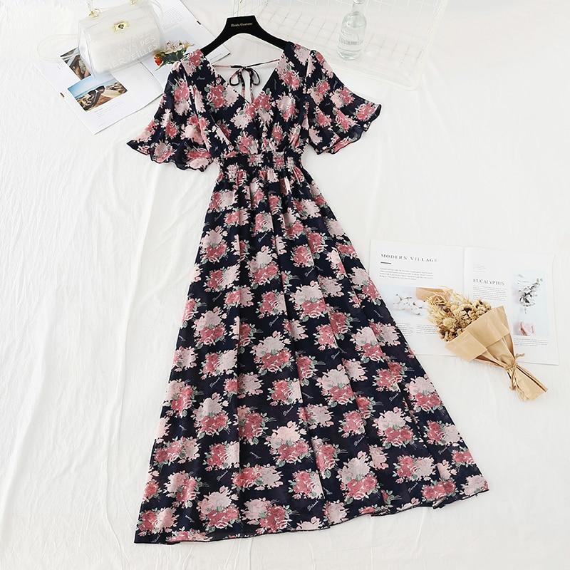 Summer Fairy Dress Women French Style Vintage Retro Chiffon Dress Short sleeve Casual Elegant Floral Print Dress Women 2021 New 20