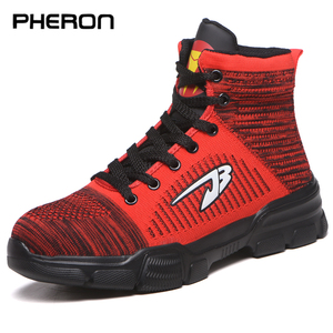 Winter New Men's Anti Smashing Cotton Steel Toe Work Shoes High Top Boots With Fur Men Puncture Proof Safety Shoes