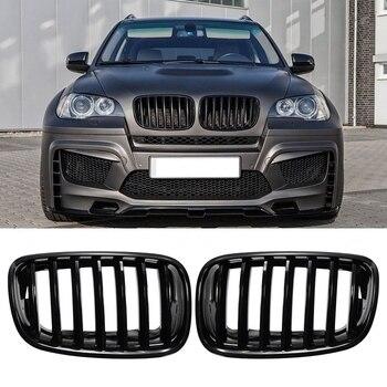 Car Gloss Black Front Bumper Intake Kidney Grills Grille for BMW E70 E71 X5 X6 2007-2013 1pair gloss matte black front kidney grille for bmw new x5 g05 2019 grille car style refit bumper slat double line racing grills