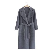 New Herringbone Wool Overcoat Double-sided Cashmere Mid-long Sheep Woman 2019 Long Ful Women Coat