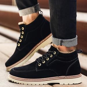 Image 2 - Hommes chaussures bottes dhiver hommes Nubuck cuir imperméable ajouter coton garder au chaud bois terre chaussures fond épais antidérapant Chelsea bottes