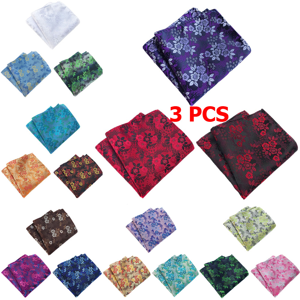 3 PCS Mens Classic Floral Pocket Square Wedding Party High Quality Handkerchief