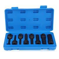 Juego de enchufes de llave hexagonal de 1/2 pulgadas, 8 Uds., caja de plástico, H5 / H6 / H8 / H10 / H12 / H14 / H17 / H19