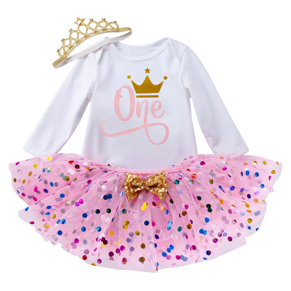 Baby Girl Clothes Sets Little Girl One Year Clothing Infant First Birthday Outfits Newborn Toddler Girl Christening Party Wear 1