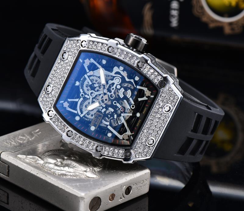 Gift Diamond DZ  Steel Watc Man Watch Rlo Dz Auto Date Week Display Luminous Diver Watches Stainless Steel Wrist Man  Male Clock