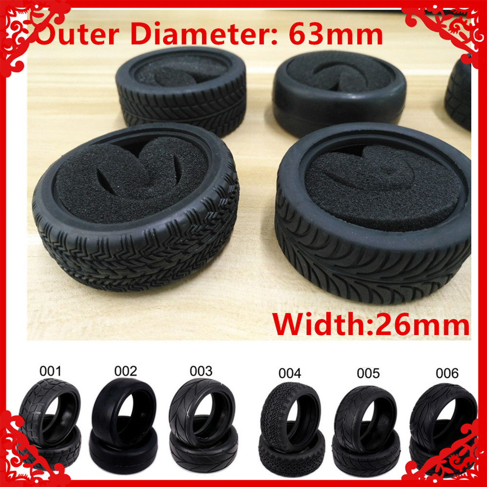 2PCS Kyosho Natural Rubber Tire Tyre With Sponge Insert For Rc Hobby Car Himoto 1:10 On Road Racing Car HSP HPI Redcat  02116