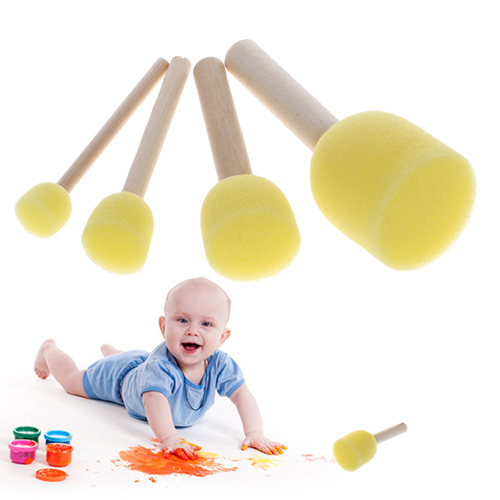 4pcs/set Wooden Handle Sponge Head StPaint Brush For Children DIY Tool Assorted Size