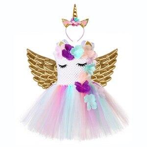 Image 1 - Милое праздничное платье для девочек с цветочным рисунком и единорогом Детские костюмы единорогов на Хэллоуин для девочек 1 год, платье для дня рождения с повязкой на голову с единорогом