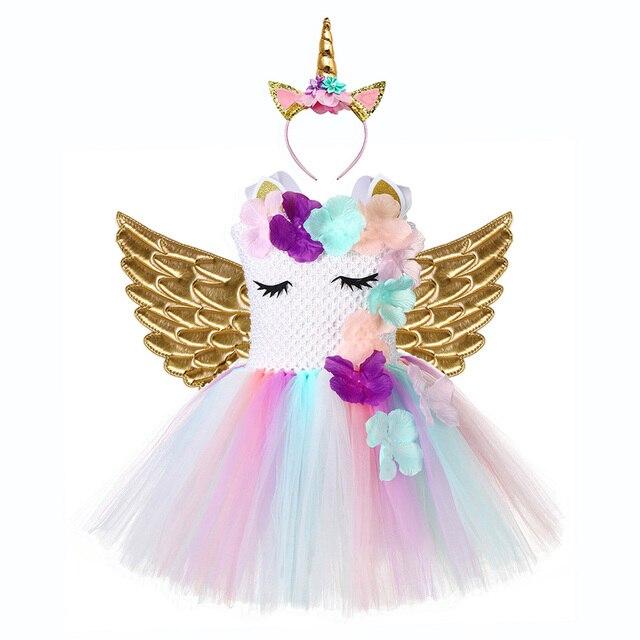 Cute Floral Unicorn Party Girls Dress Kids Halloween Unicorn Costumes for Girls 1 Year Birthday Dress with Unicorn Headband Wing