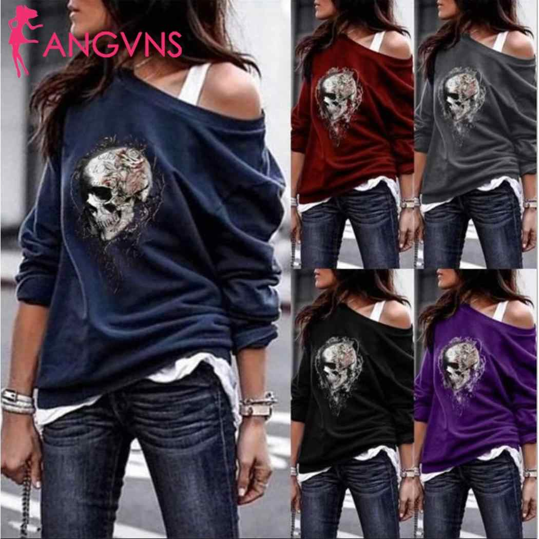 Women Fashion Skull Printed Slash Neck Long Sleeve T-shirt Casual Slim Pullover Casual Top Autumn