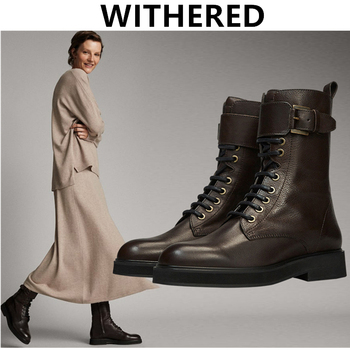 Withered England Retro High Street Fashion Cowhide Soft Zippers High top Martin Boots Women Shoes Woman Botas Mujer Shoes Women