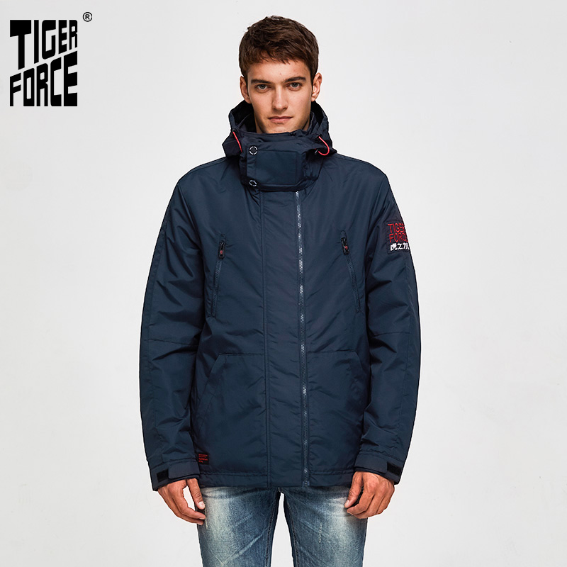 TIGER FORCE  Men Jackets Spring Cotton Padded Jackets Hooded Jacket Waterproof Coat Windbreaker Men's Outerwear