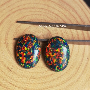 Image 3 - 20 pçs/lote 13x18mm op32 sintético Preto Opala de Fogo Oval Cabochão Opala Pedra para a Jóia DIY