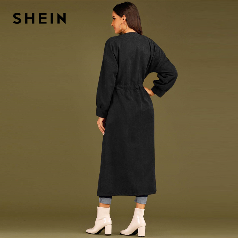 SHEIN Solid Waterfall Collar Single Breasted Drawstring Waist Elegant Long Coat Women Spring Streetwear Long Sleeve Trench Coats 2