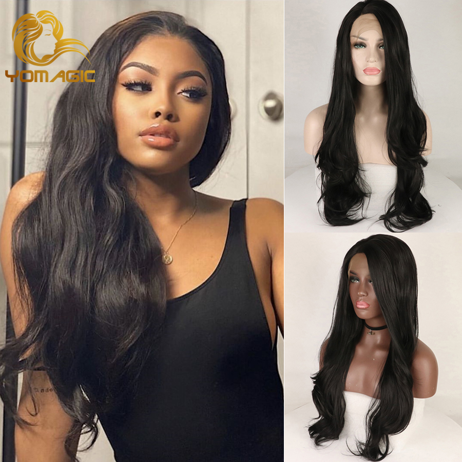 Yomagic Hair Black Color 13*6 Lace Front Wig With Baby Hair Long Natural Wave Synethetic Hair Glueless Lace Wigs Natural Hailine