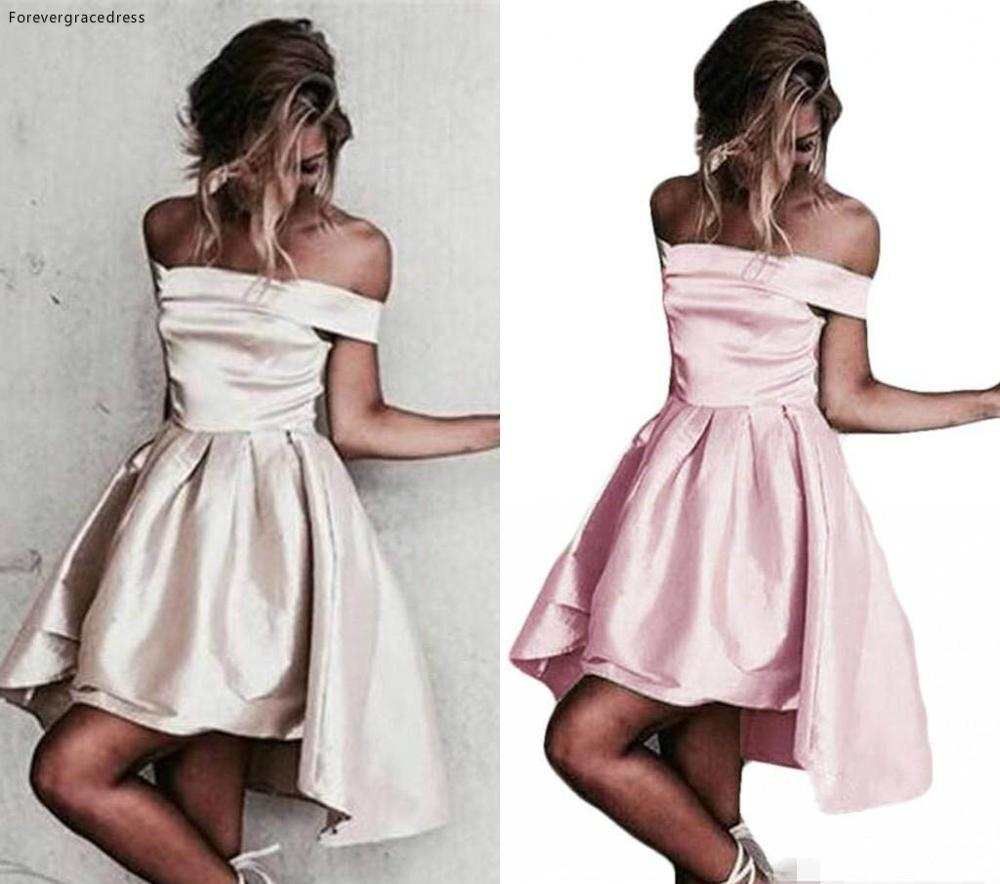 Cheap Modern Off Shoulder Cocktail Dress A Line Short Mini Semi Club Wear Homecoming Party Dress Plus Size Custom Make