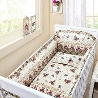 6 pçs urso berço jogo de cama  protetor decoração da sala segurança do bebê conjuntos de cama algodão cama infantil (4 pára-choques + folha + capa de travesseiro)