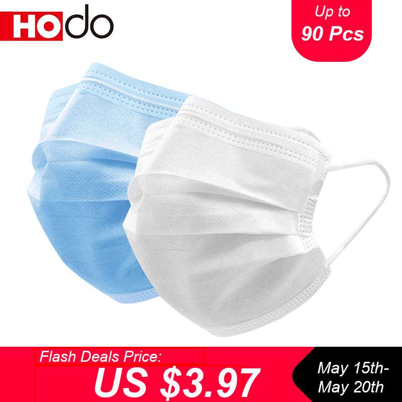 10/90 Pcs Hodo Protective Masks Face Mask Anti Dust Disposable Masks Melt-blown 3 Layers Protection Respirator Dustproof Mask