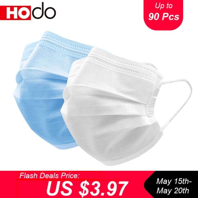 10/90 Pcs Hodo Protective Masks Face Mask Anti Dust Disposable Masks Melt-blown 3 Layers Protection Respirator Dustproof Mask