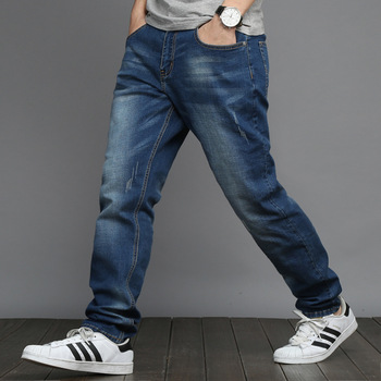 2020 Jeans Men's Elastic Straight Large Size 48 Men's Simple Style Black Blue Stretch Denim Pants Big Men Plus Size 5XL 6XL 7XL