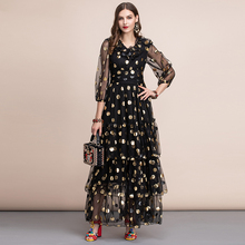 Baogarret Autumn Vintage Black Maxi Dress Women's V neck Ruffles Dot Tiered Layer Hem Mesh A Line Party Gown Long Dress tiered ruffle hem dot jacquard dress
