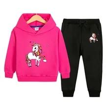 Girls Kids Unicorn Print Sequin Tracksuit Hoodie Joggers Jogging Bottoms Set