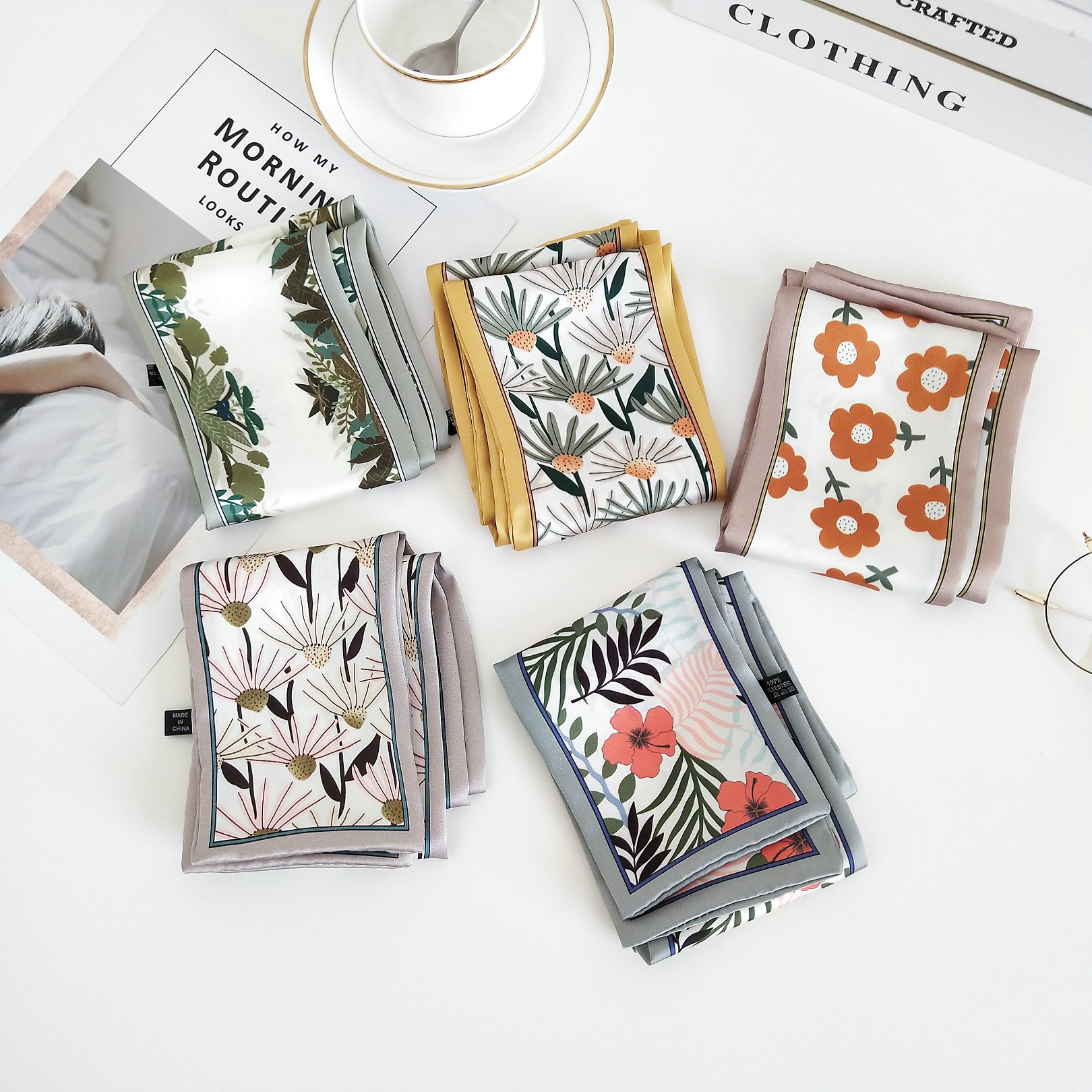 2020 New Style 9cm*95cm Brand Skinny Scarf Design Twill Scarf Double-deck Women Fashion Tie Neckerchief Head Silk Scarves