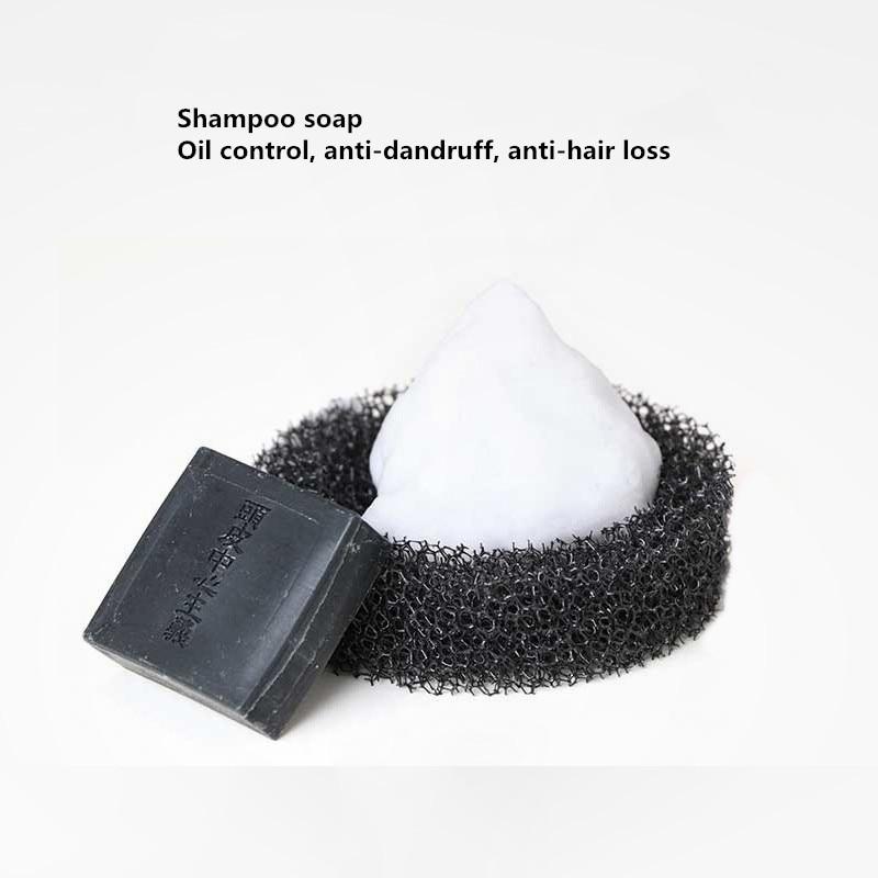 2 pièces x 30g japon savon noir shampooing solide, contrôle de l'huile antipelliculaire, anti-démangeaisons et anti-alopécie sans huile de silicone